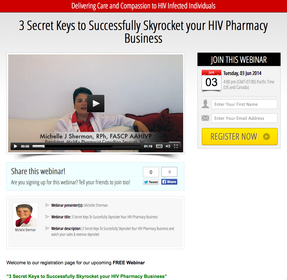"June 3rd, 2014 Upcoming Webinar ""3 Secret Keys to Successfully Skyrocket your HIV Pharmacy Business""."